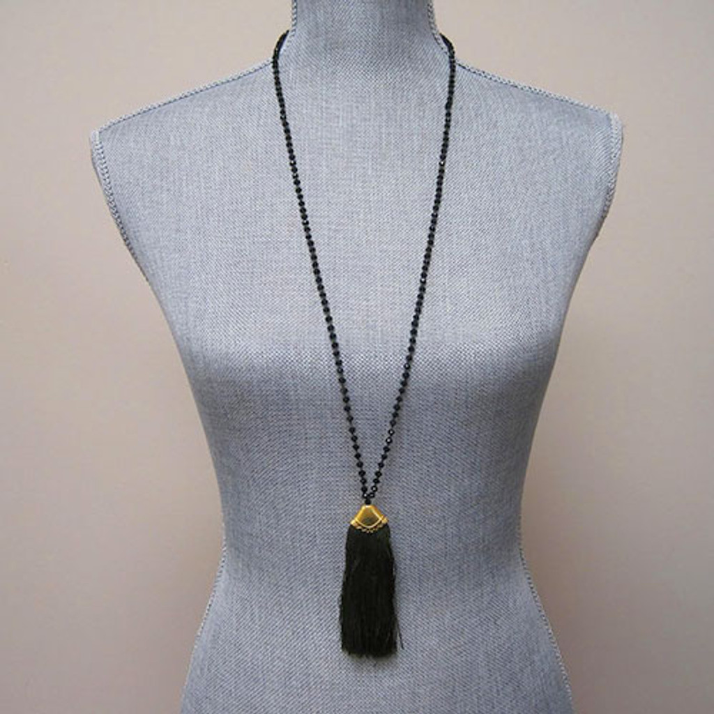 Jet Crystals & Green Fan Tassel Necklace
