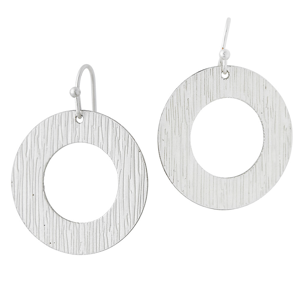 Textured Circle Drop Earring Silver