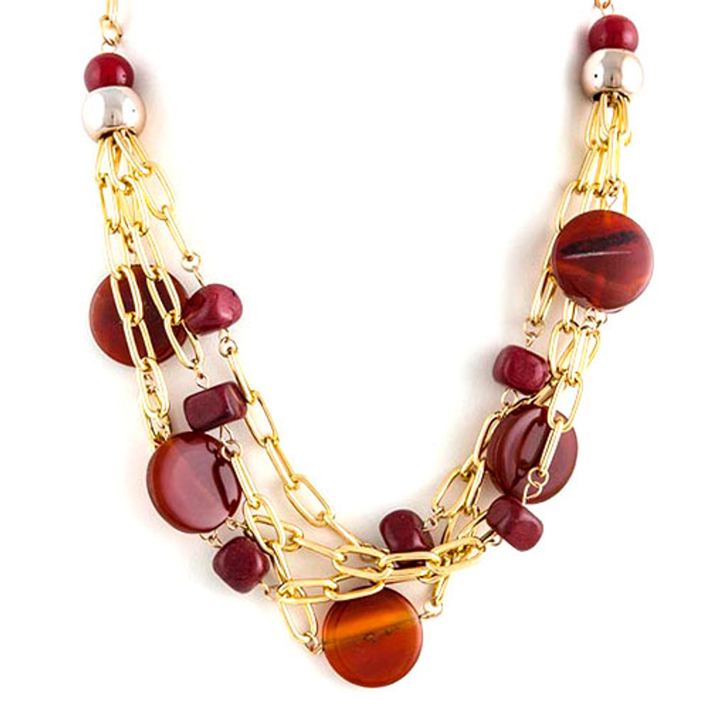 Burgundy Gems and Oval Linked Tiered Chains