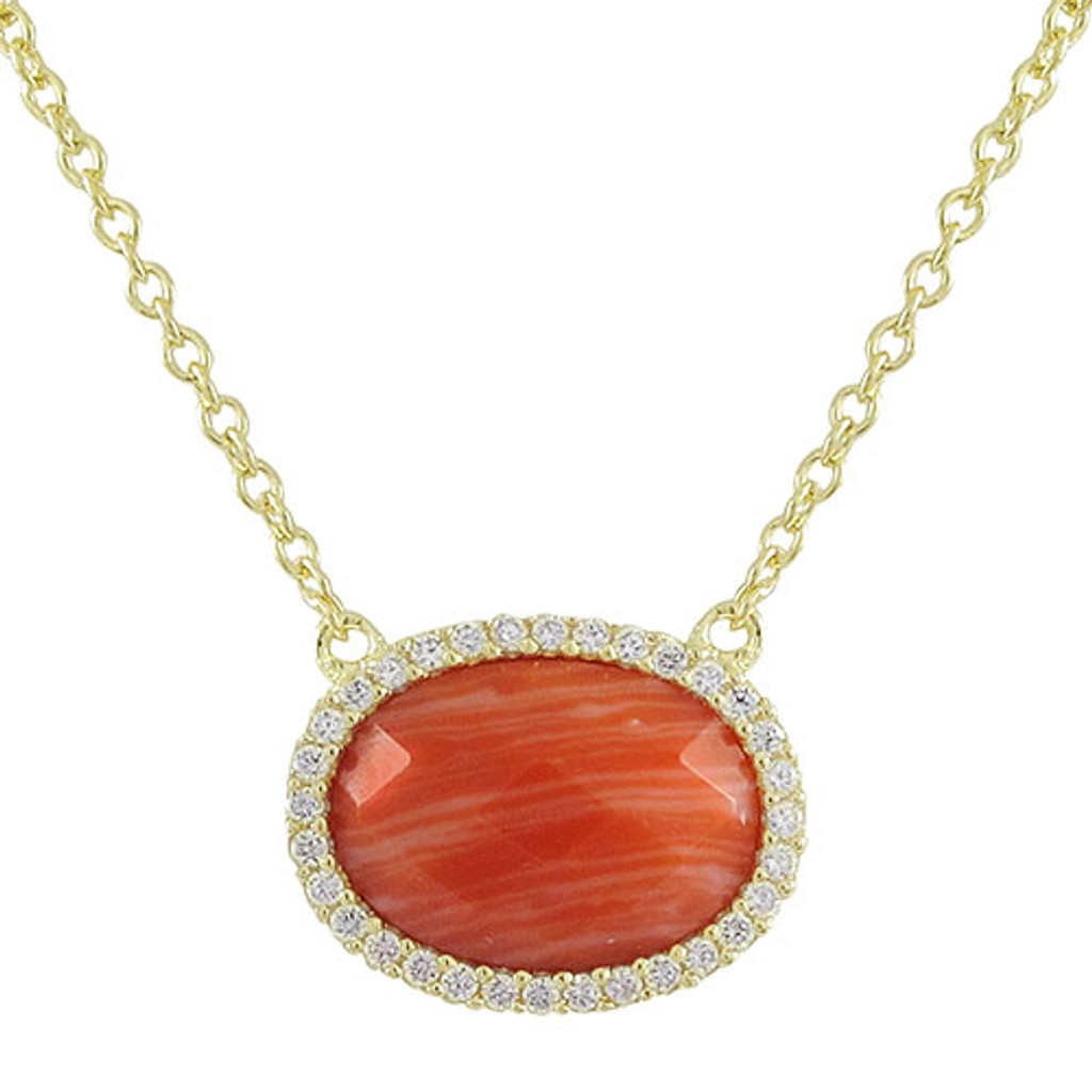 Coral Oval Necklace