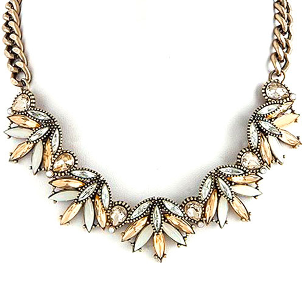 White and Light Topaz Layered Leaves Necklace
