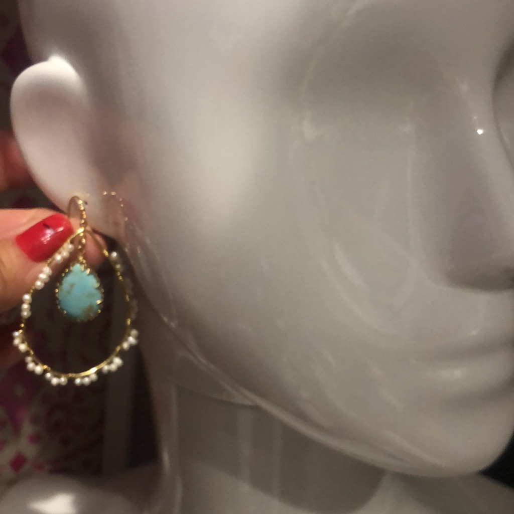Turquoise and Pearl Wrapped Hoop