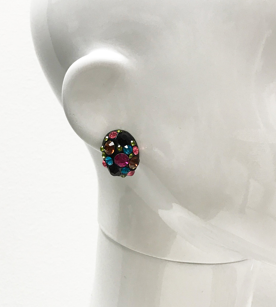 Multi-Colored Jeweled Button Earring