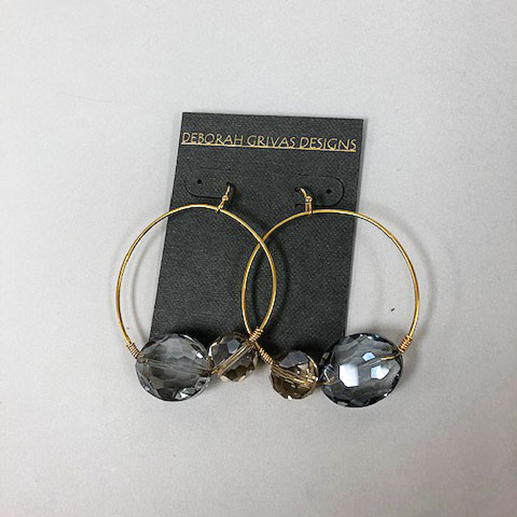 Two Colored Crystals on a Round Gold Hoop