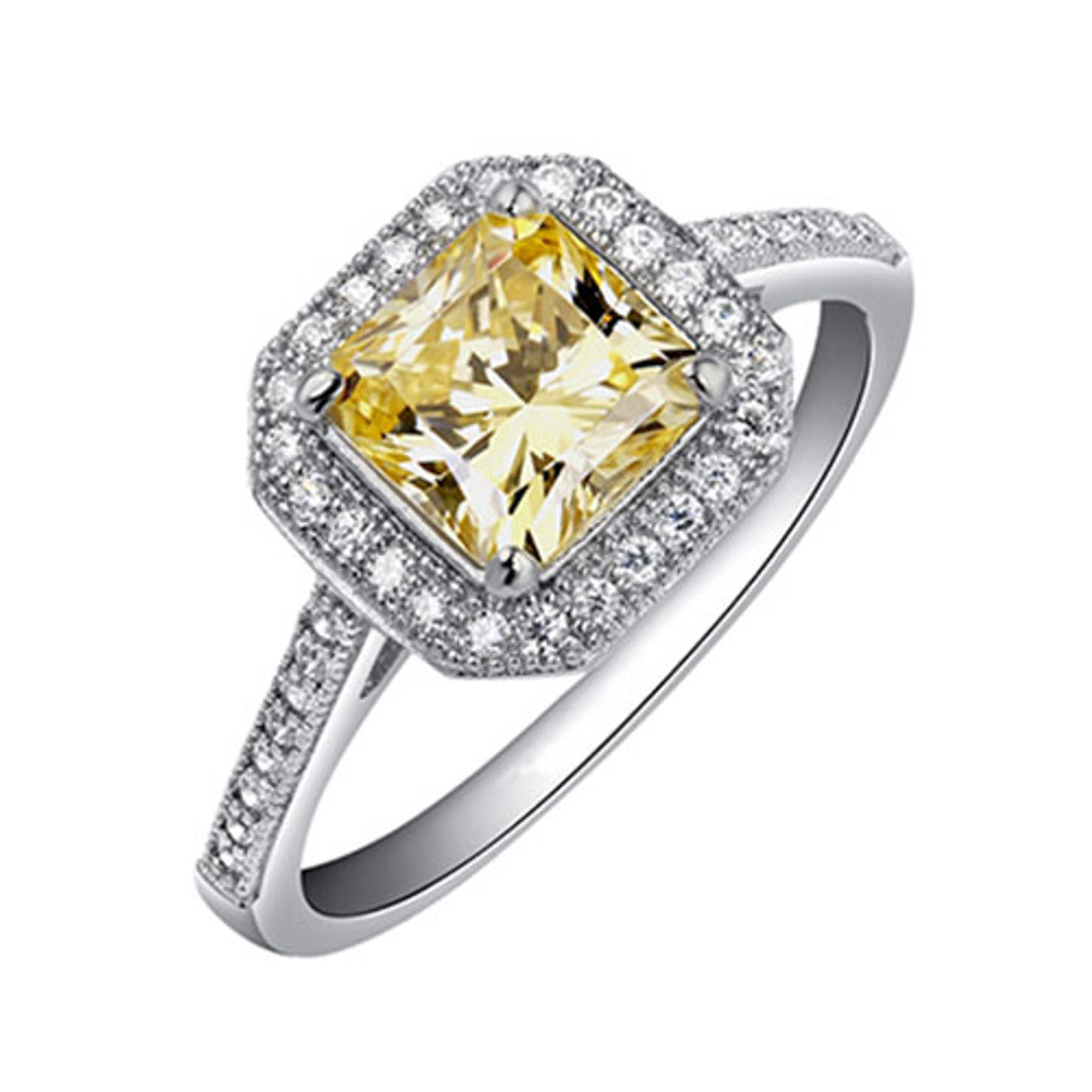 Lafonn's Princess Cut Canary Diamond Ring