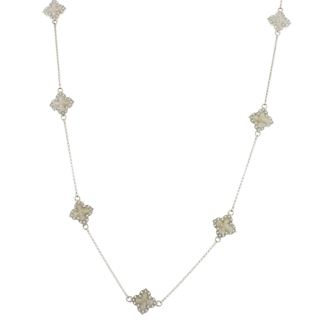 Pearlized Enamel Station Necklace