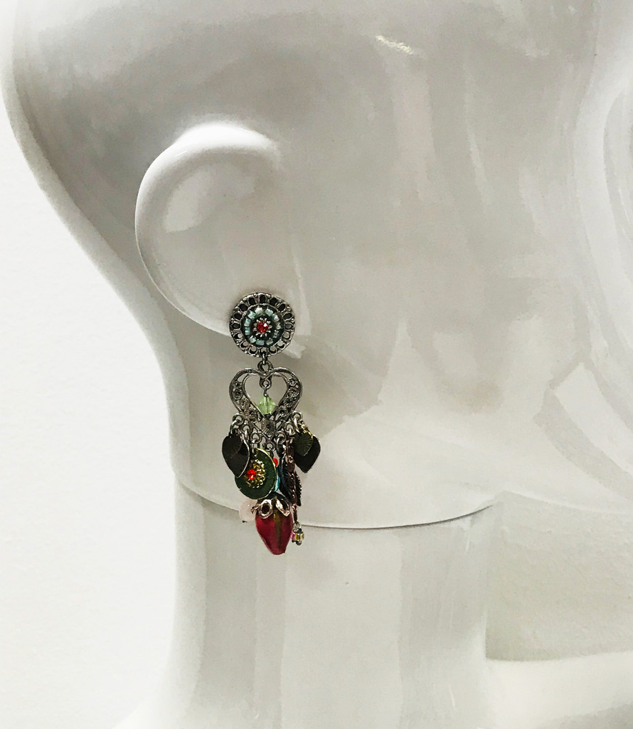 Lacquered Rose Bud Charm Earrings