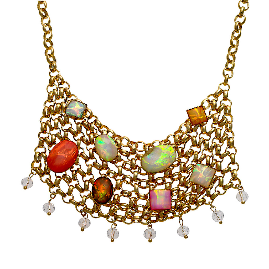 Multi Colored Opals on Metal Mesh Bib
