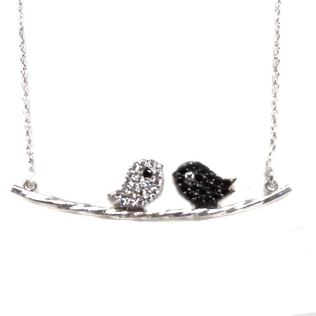 Jet and Clear Love Bird Necklace