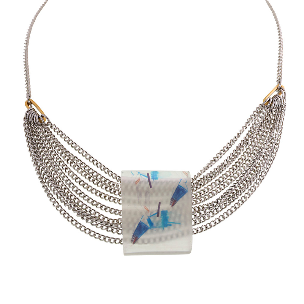 Hand-Painted Resin Gallery Necklace Blues
