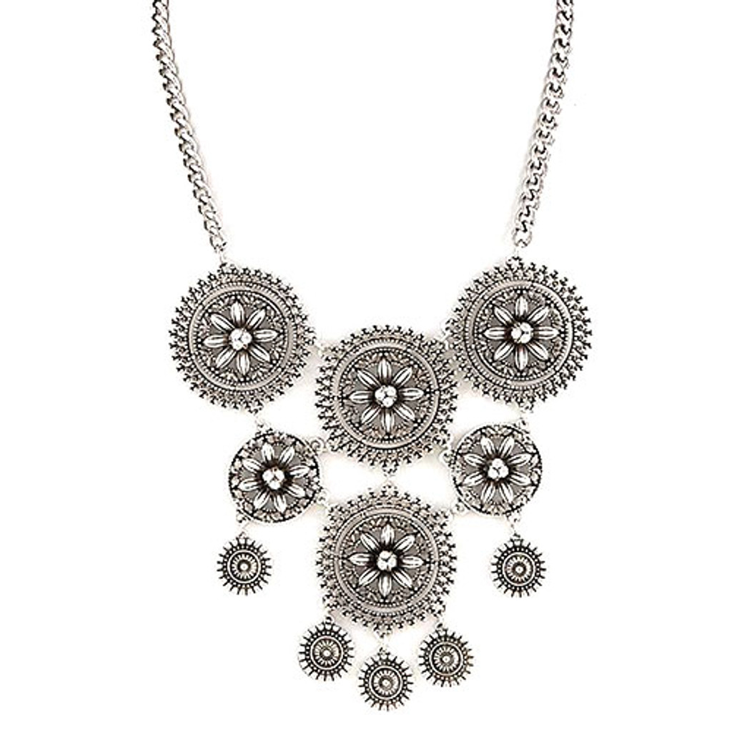 Antiqued Flower Medallions Necklace
