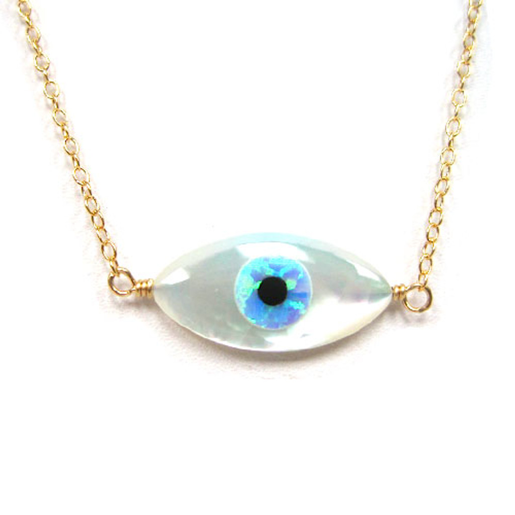 Oval Evil Eye Pendant Necklace