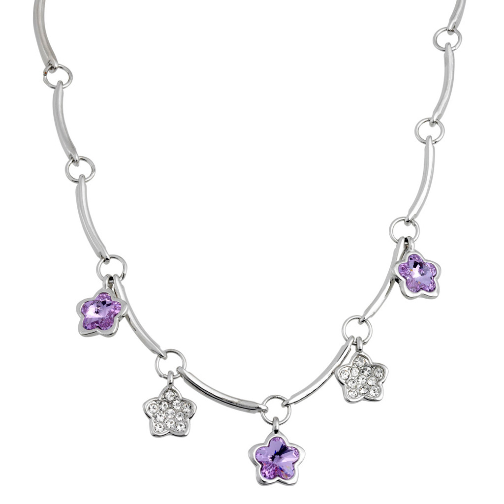 Pave Star and Tanzanite Flowers Necklace