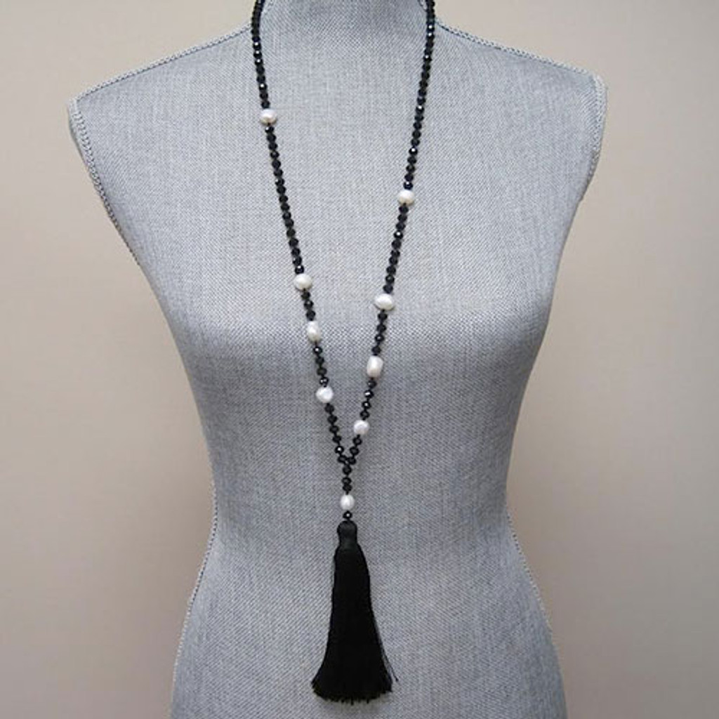Bohemian Chic Crystal and Pearl Tassel Necklace 1