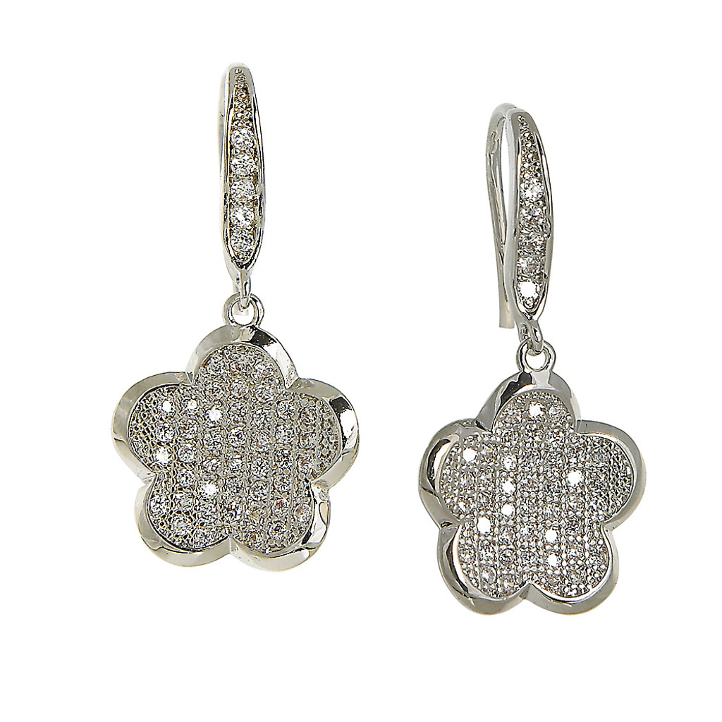 Designer Clover Flower C.Z. Dangle