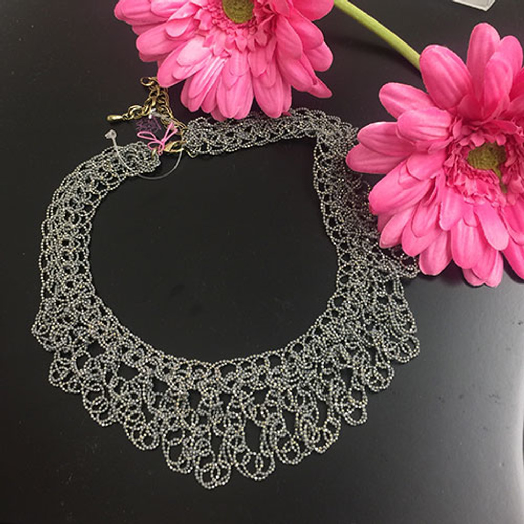 Stunning Metal Crochet Gray with Gold Necklace