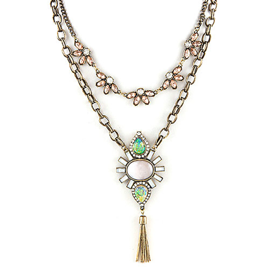 Modern Deco Double Layered Necklaces PK