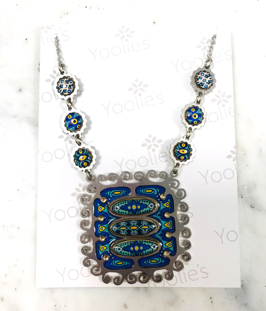 Large Mod Blue Square Pendant Necklace