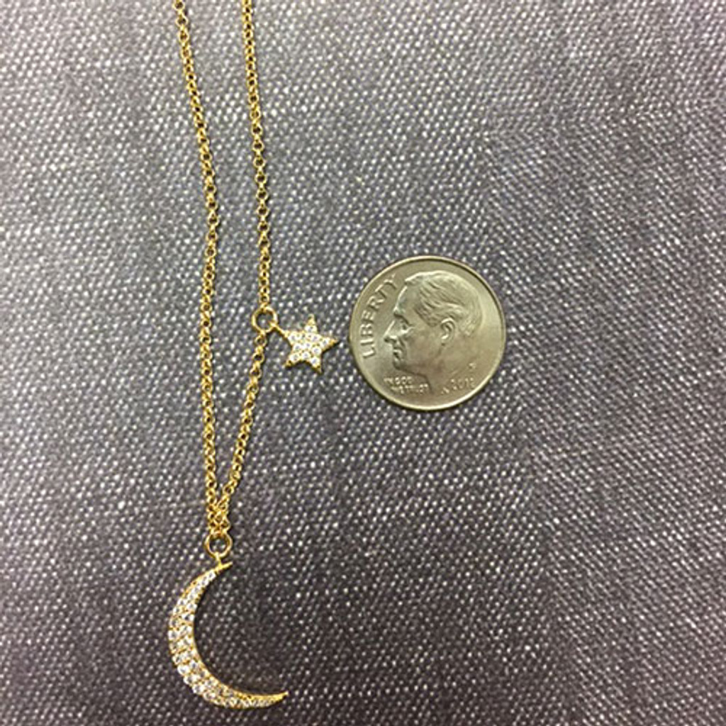 Wish Upon a Star and Moon Necklace