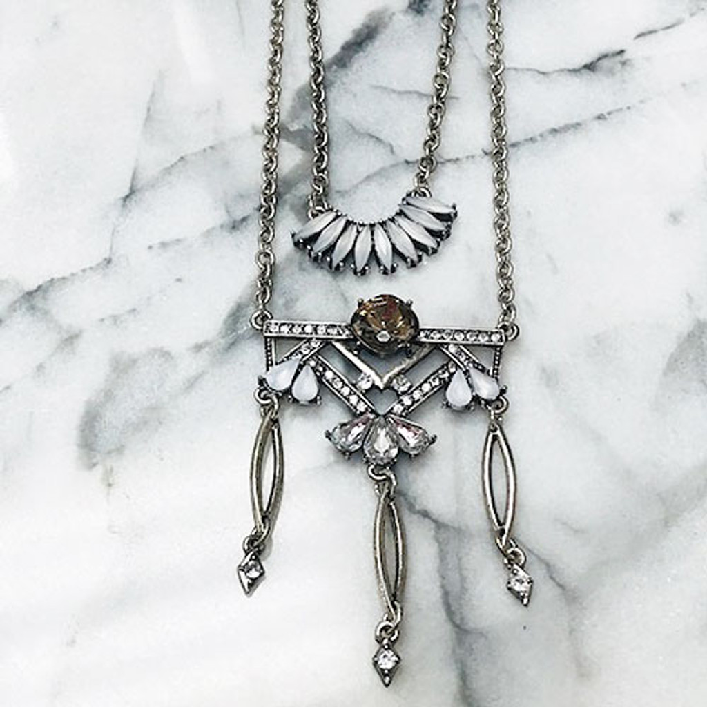 Antiqued Silver Deco Layered Chain Design