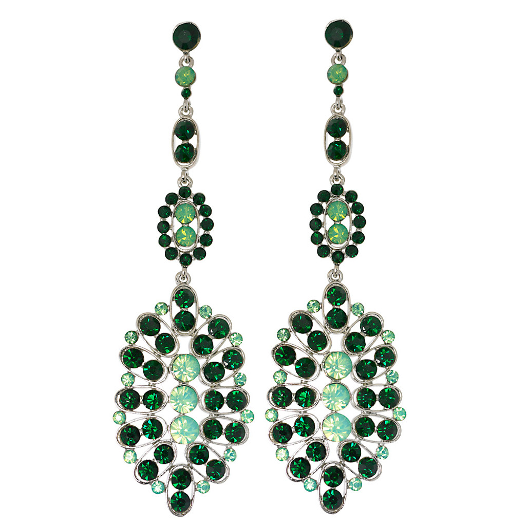 Emerald and Pacific Opal Crystal Shoulder Duster Earring