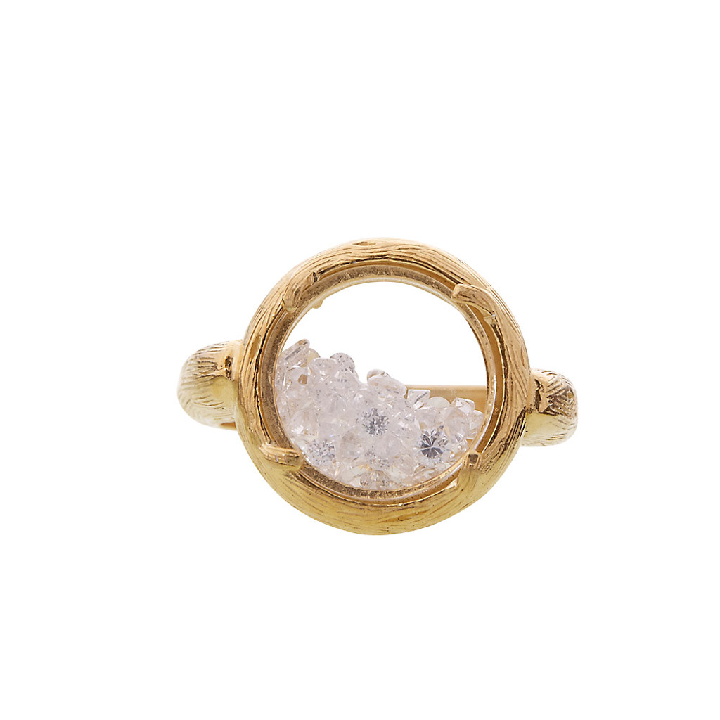 Round Glass Encased Crystal Ring G