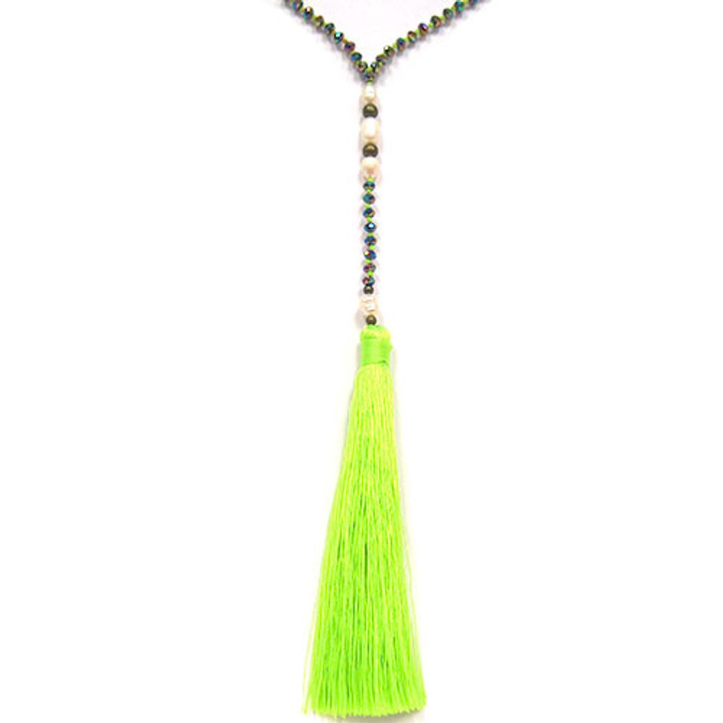 Zacasha's Bohemian Chic Crystals and Pearls Tassel Necklace