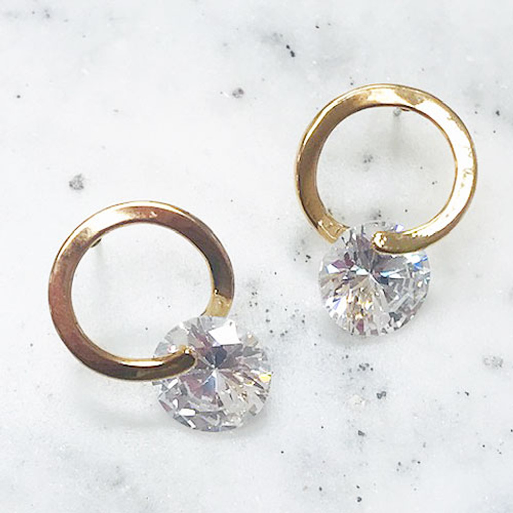 C.Z. In a Circle Gold Earring