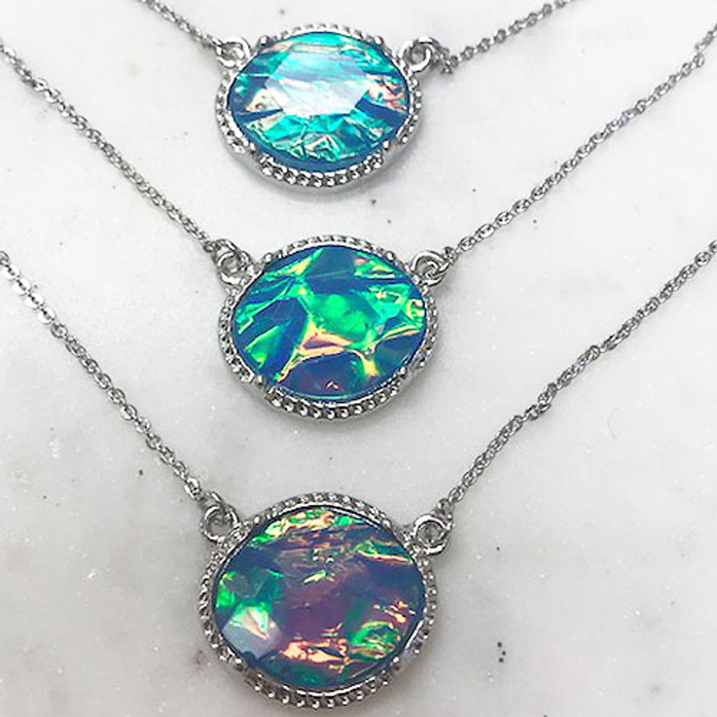 Triple Layered Iridescent Blue Stones Necklace