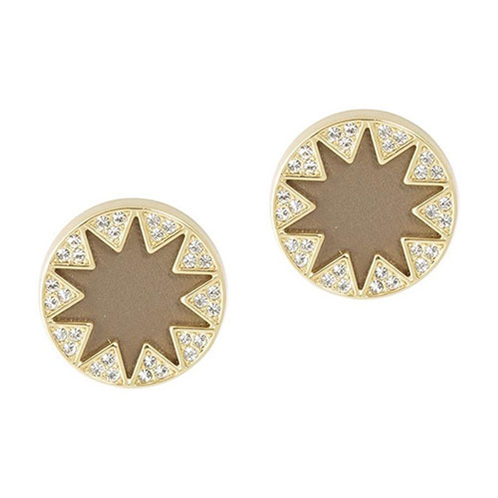 House of Harlow Larger Pave Sunburst Earring- Khaki