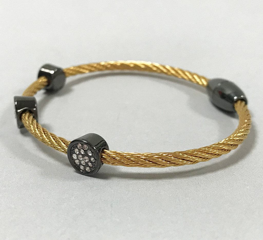 Twisted Gold Tone Bracelet with Circles
