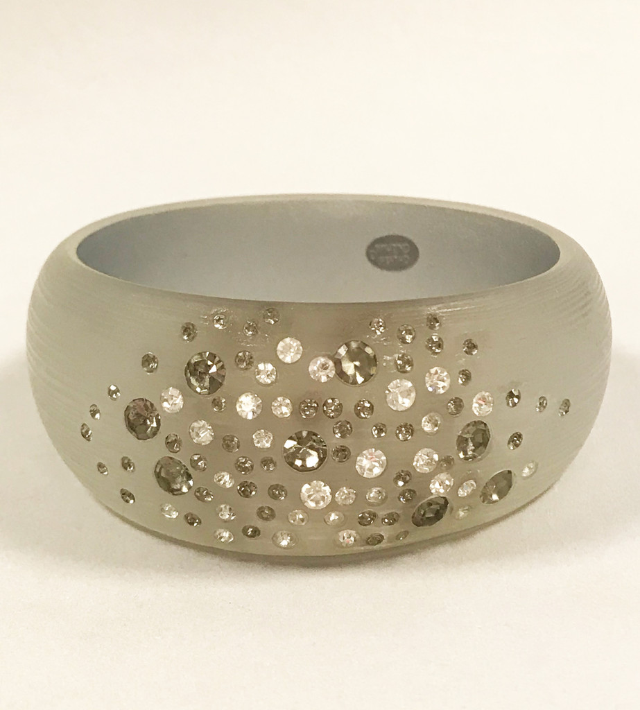 Gray Lucite Bangle with Inset Crystals