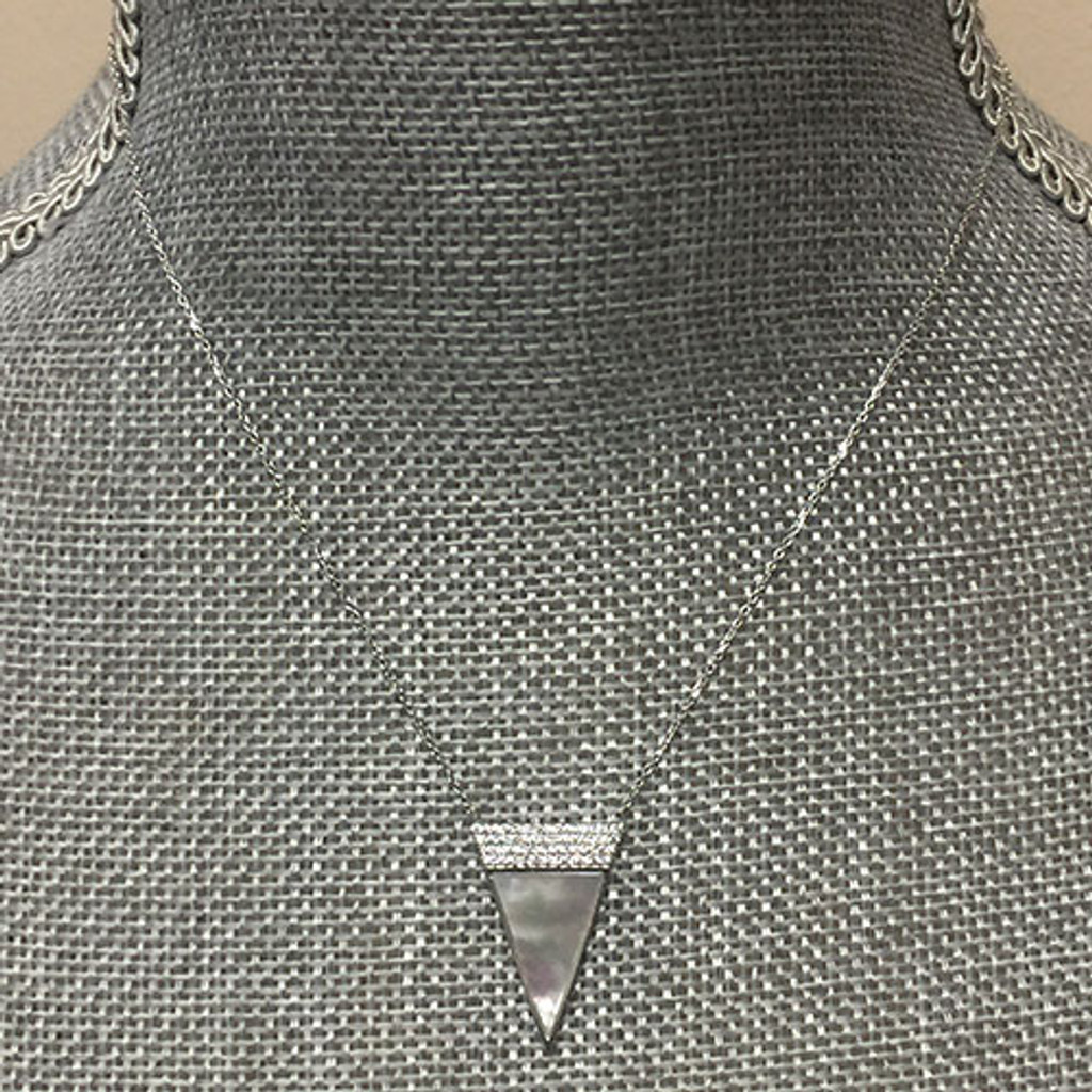 Sterling Silver Mother-of-Pearl Triangle Necklace