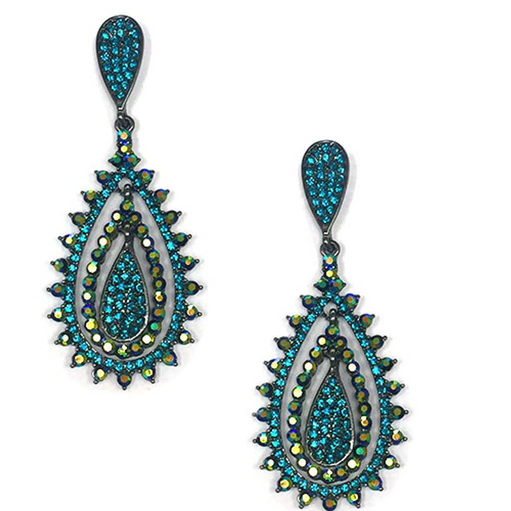 Blue Zircon and Jet AB Romantica Teardrops