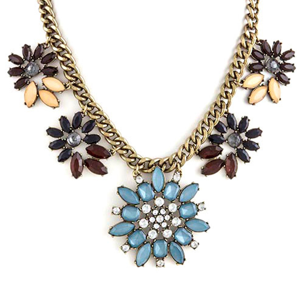 Heirloom Blue Floral Linked Necklace