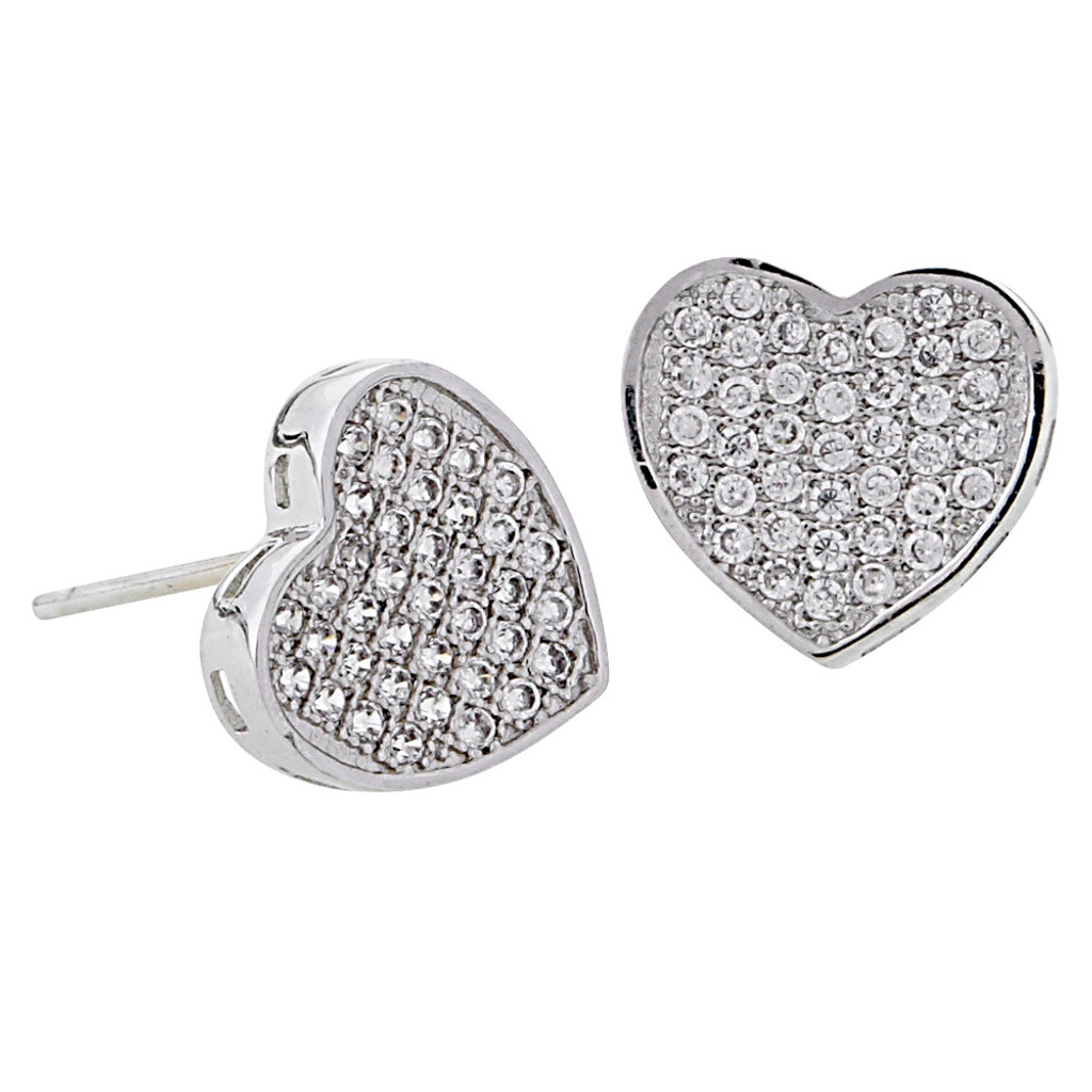 Cubic Zirconia Pave Heart Post Earring