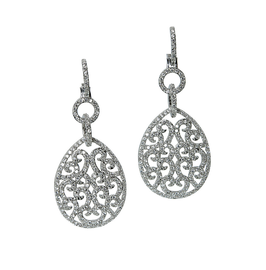 Delicate Filigree Cubic ZirconiaTeardrop Dangle Earring