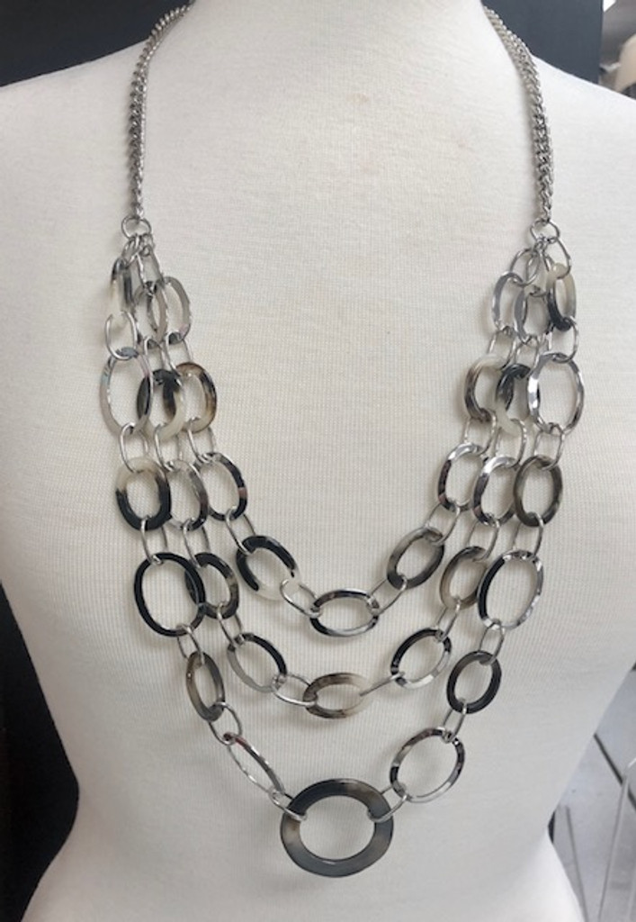 Tortoise Shell Loops and Bold Silver Chain Necklace