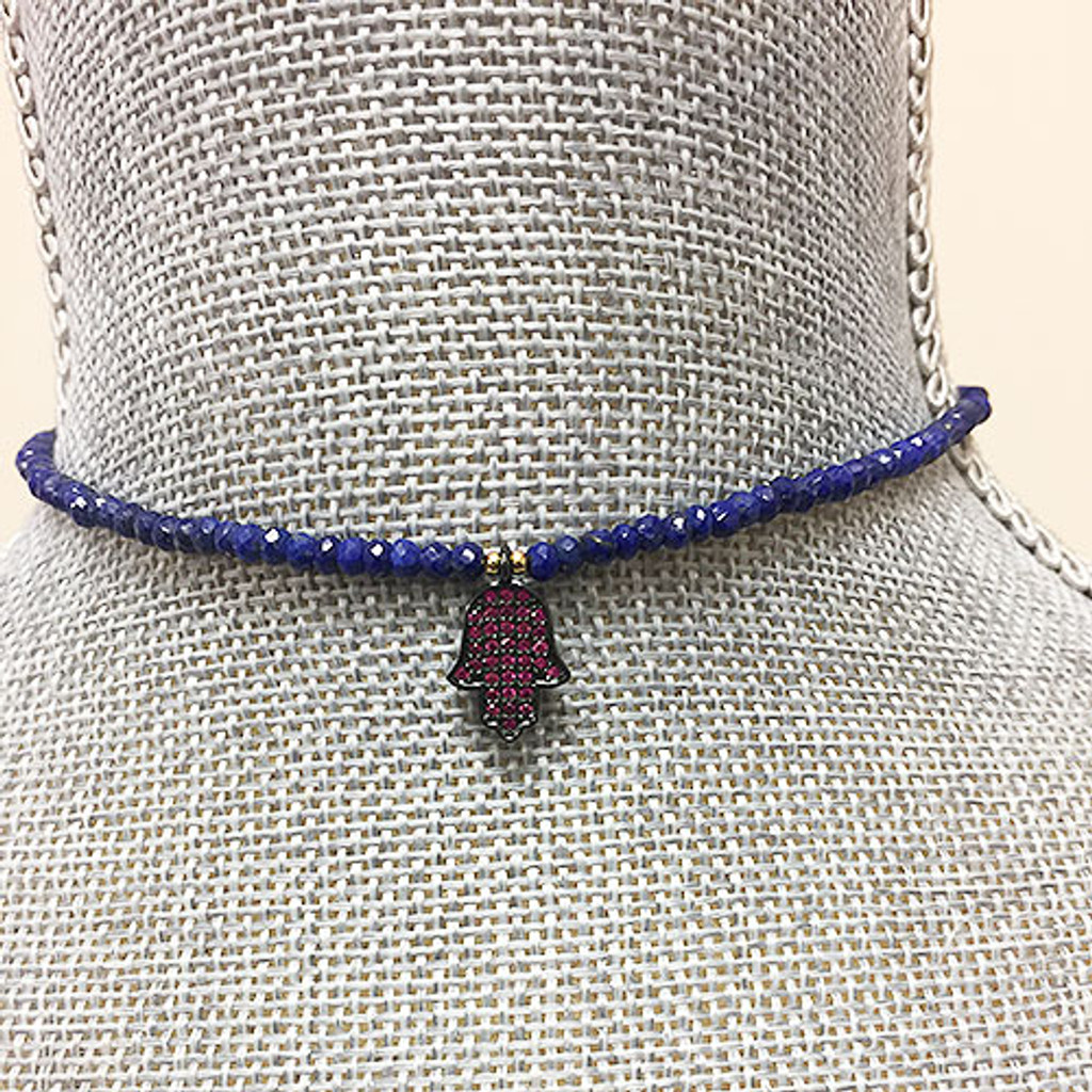 Genuine Lapis Bead Choker with Pave Hamsa