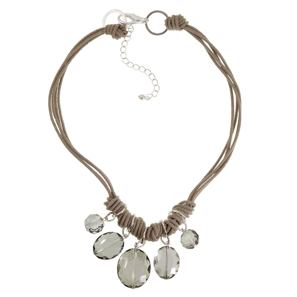 Five Oval Crystal Station Necklace