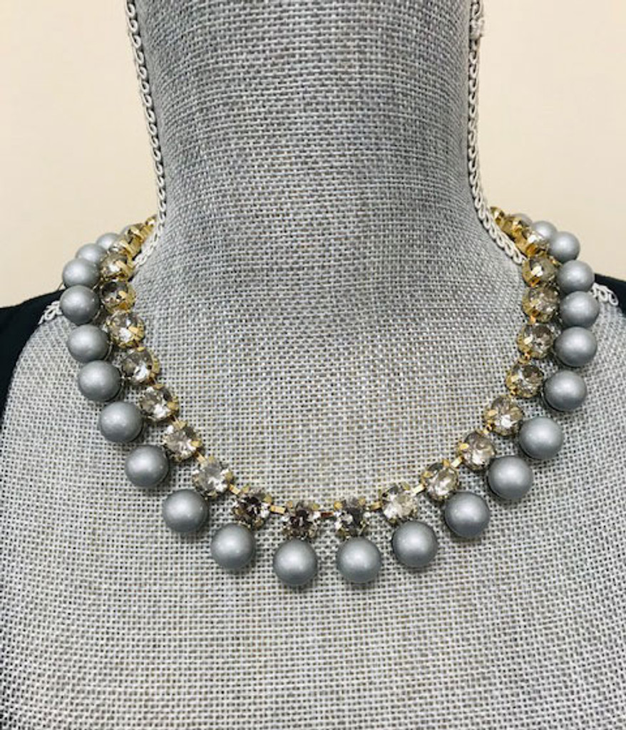 Gray Bubbles and Baubles Necklace