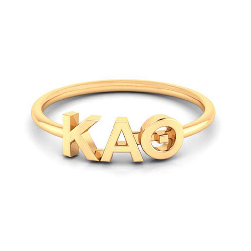 Kappa Alpha Theta Gold Thin Band Letter Ring