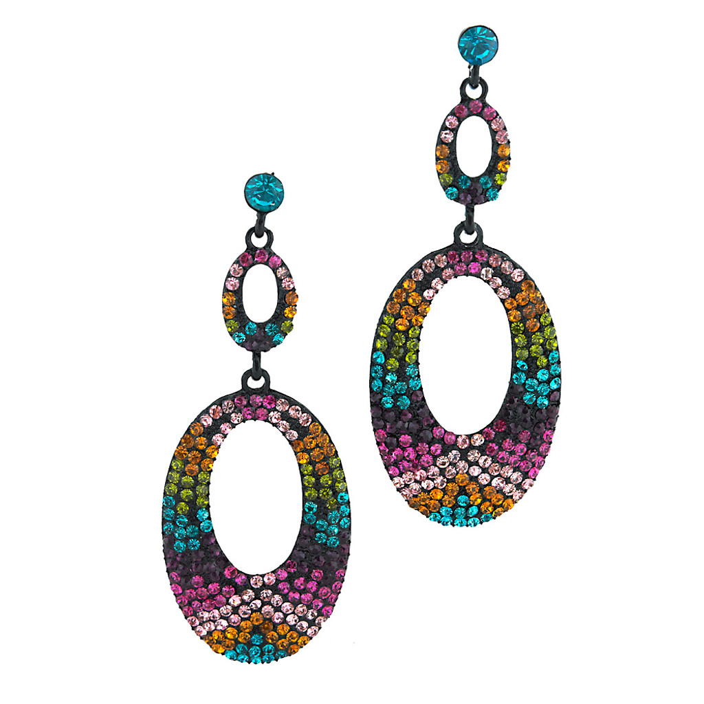 Multi-Colored Pave Concentric Ovals