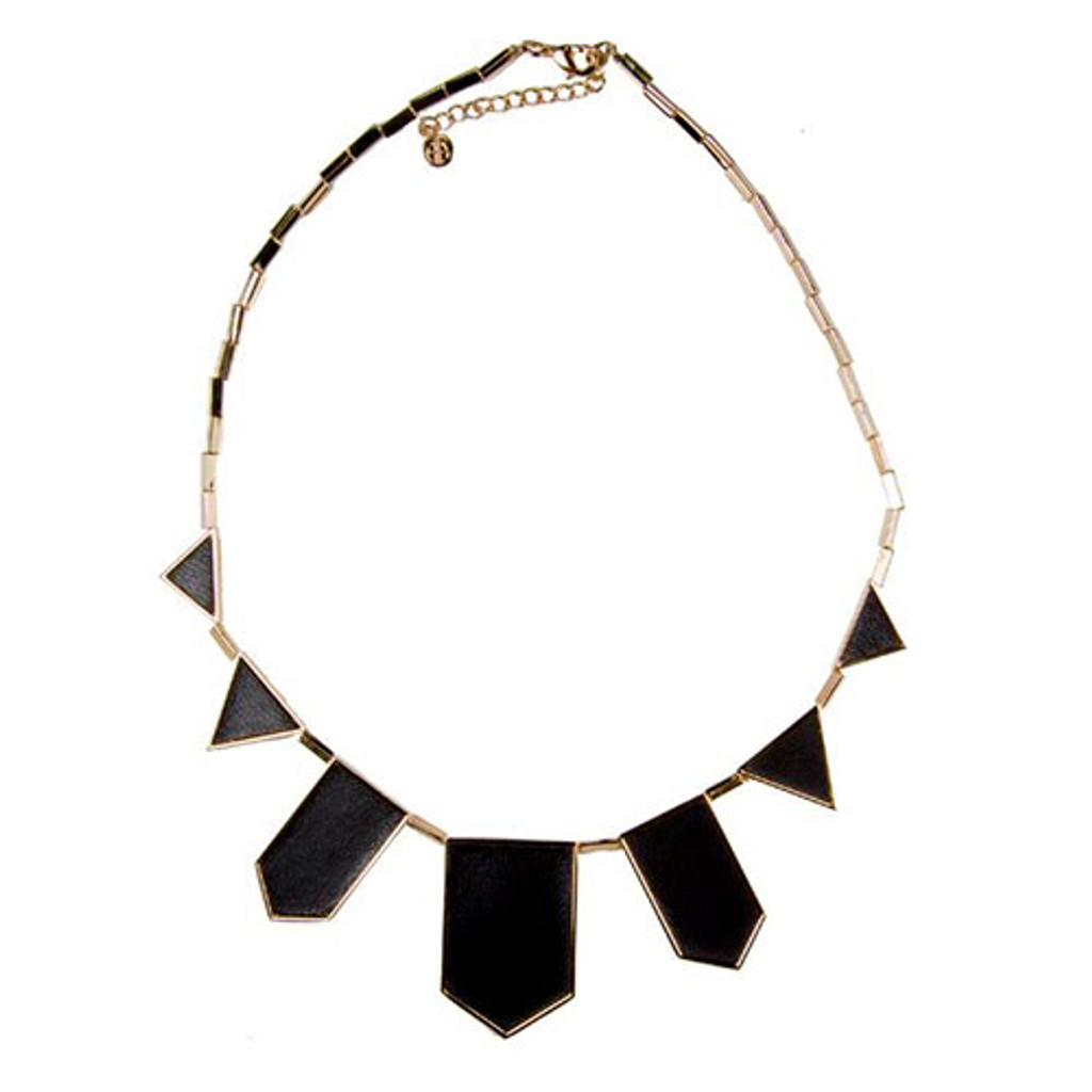 House of Harlow Black Leather Station Necklace