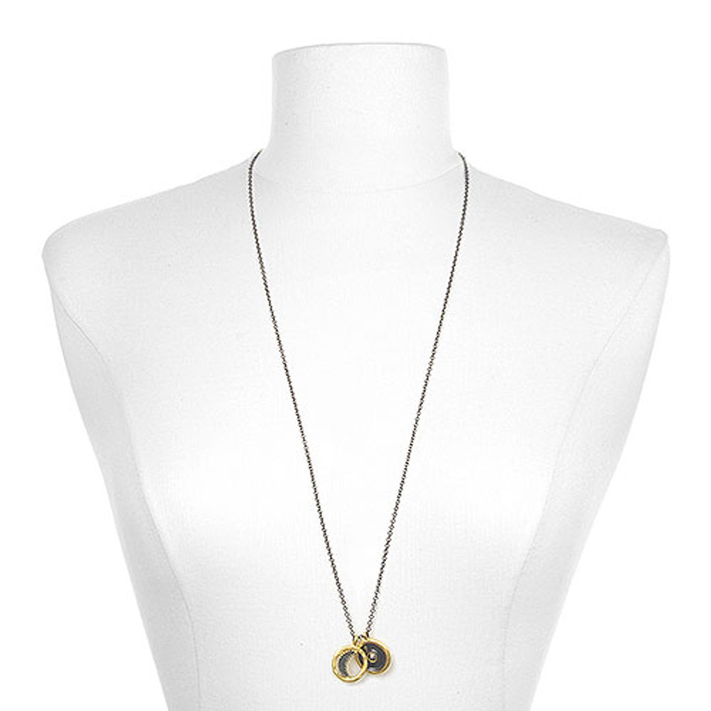 """Light the Sky""å-Gunmetal & Gold Celestial Necklace"