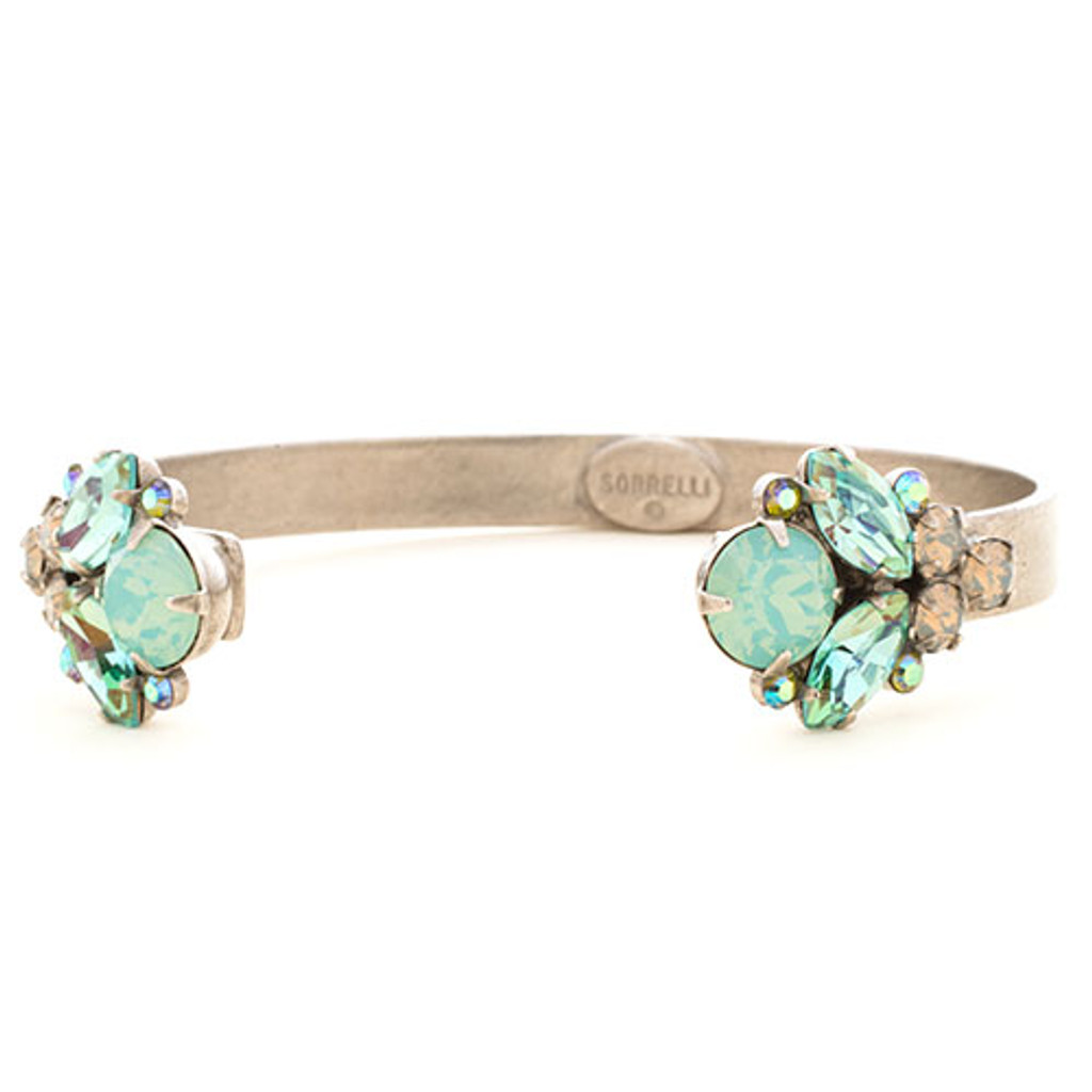 Sorrelli Teal Textile Open Top Crystal Cuff
