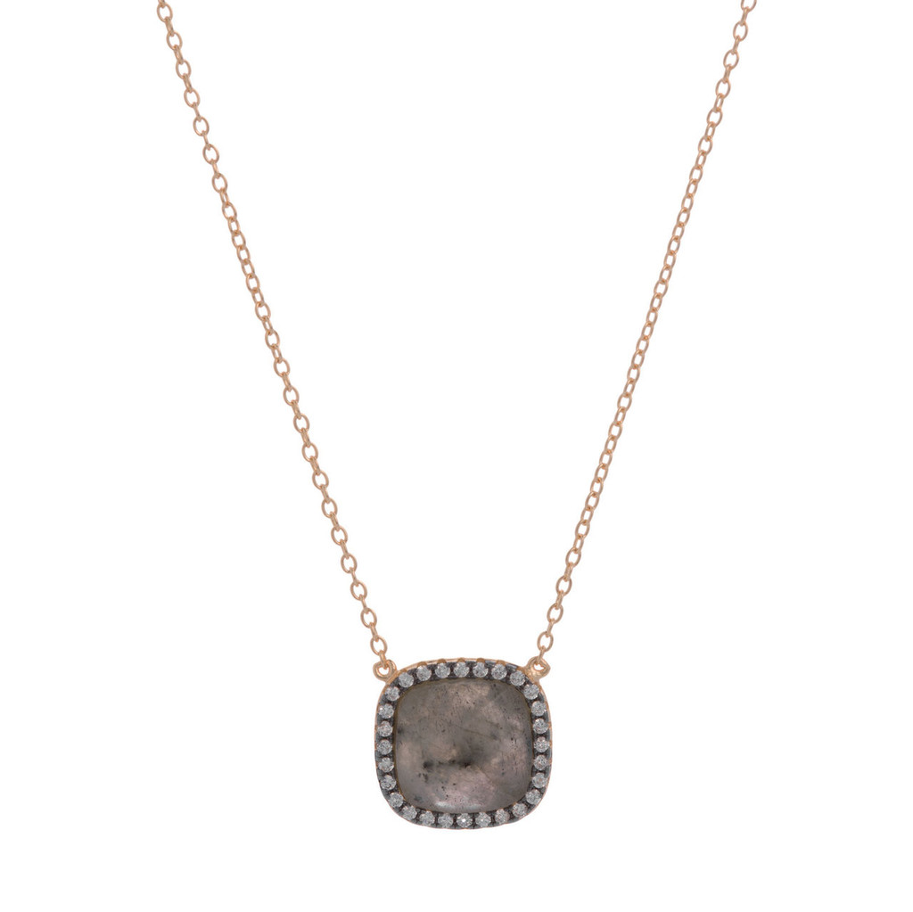 Labrodorite Square with Cubic Zirconia Necklace