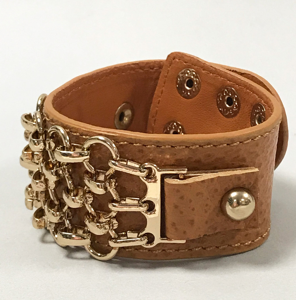 Hermes Styled Linked Chain Leather Cuff