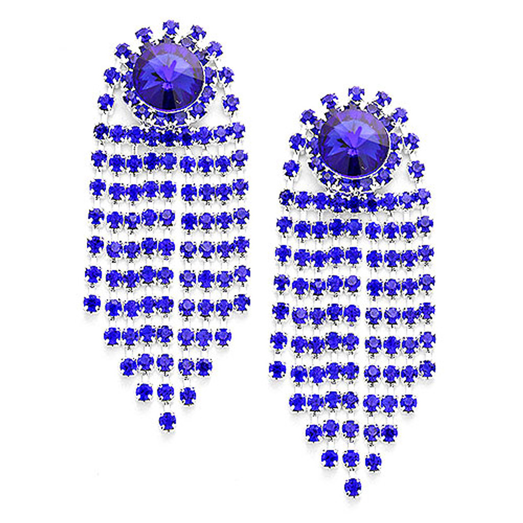 Blue Crystal Waterfall Earring