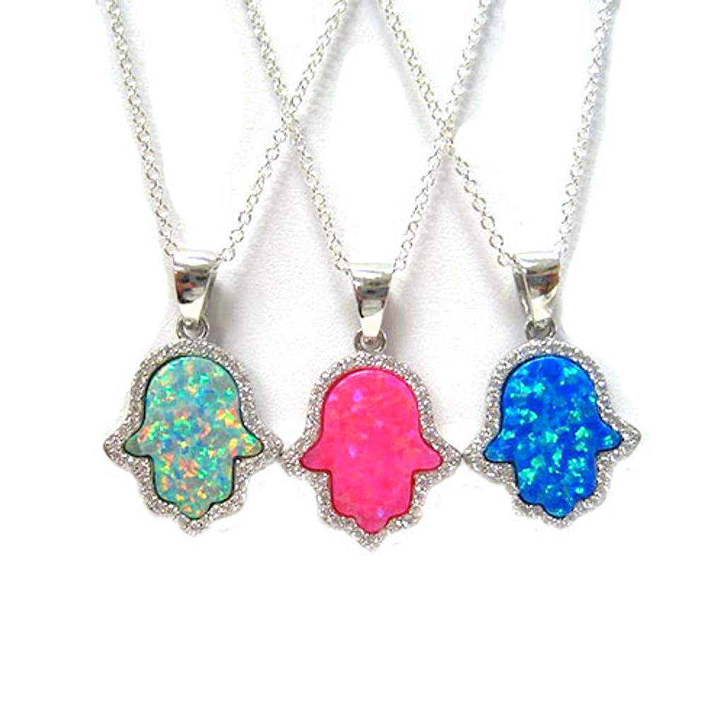 Hot Pink Opal Hamsa C.Z. Necklace 1
